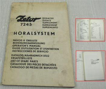 Zetor 7245 Zusatz Supplement zu Bedienungsanleitung und Ersatzteilliste um 1984