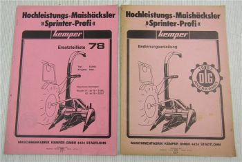 Kemper D2402 Maishäcksler Ersatzteilliste 78 Ausgabe 1982 + Bedienungsanleitung