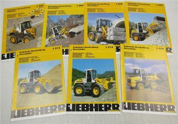 7 Prospekte Liebherr Stereolader Radlader L 507 508 509 512 514 544 von ca 2002