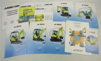 10 Prospekte Amman Yanmar Mikrobagger Minibagger Verdichter Walzen 90er/2000er