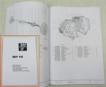 Welger RP15 Rundballenpresse Ersatzteilliste Ersatzteilkatalog von 5/1982