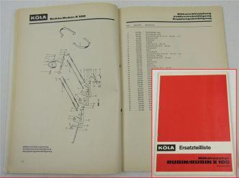 Köla Mähdrescher Rubin X100 Ersatzteilliste Ersatzteilkatalog von 1969