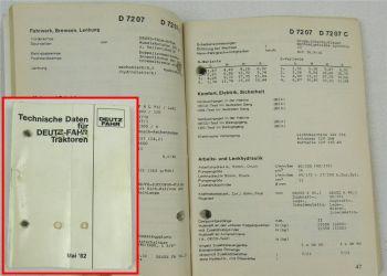 Deutz Technische Daten D4000 D4500 D4800 D5200 D6000 er DX Intrac 5/1982