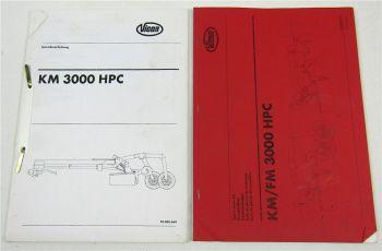 Vicon KM3000 HPC Mähknickzetter Ersatzteilliste und Bedienungsanleitung 1998