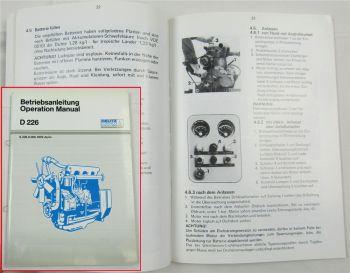 Deutz MWM D226 Motor Bedienungsanleitung Betriebsanleitung Operation Manual
