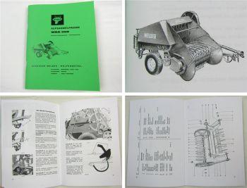 Welger WSA 350 Aufsammelpresse Betriebsanleitung Ersatzteilliste 1964