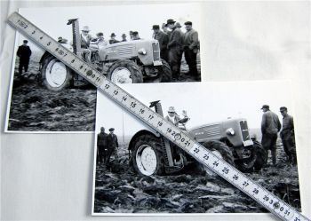 2 Foto MAN Dieselschlepper Traktor Erprobungsfahrt mit Mähwerk 1960 Original