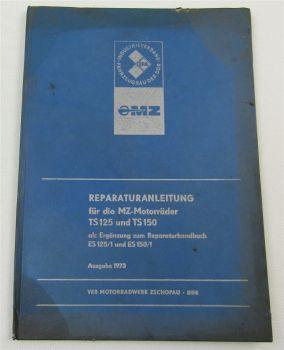 MZ TS125 TS150 Ergänzung zur Reparaturanleitung ES125/1 ES150/1 von 1973