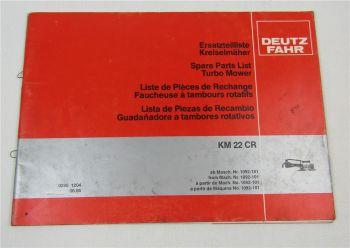Deutz Fahr KM22CR Kreiselmäher Ersatzteilliste Spare Parts List 6/1986