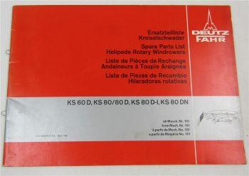 Deutz Fahr KS 60 80 D D-I DN Kreiselschwader Ersatzteilliste Parts List 1979