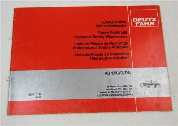 Deutz Fahr KS1.50 D DN Kreiselschwader Ersatzteilliste Parts List 6/1985