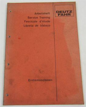 Deutz Ernetemaschinen Kundendienstschule Service Training Werkstatthandbuch 1983