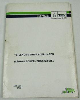 Deutz Mähdrescher Ersatzteile Teilenummern-Änderungen 7/1992 Ersatzteilliste