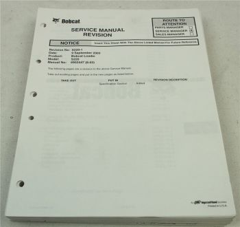 Bobcat S220 Loader Service Manual Revision ca 2003/04 with schematics