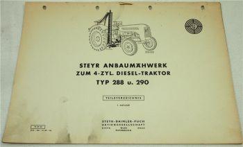 Steyr Anbaumähwerk zum 4-Zyl. Dieselschlepper Typ 288 und 290 Ersatzteilliste