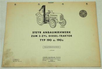 Steyr Anbaumähwerk zum 3-Zyl. Dieselschlepper Typ 190 und 190s Ersatzteilliste