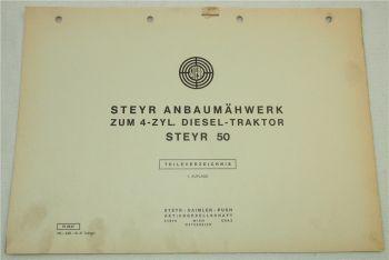Steyr Anbaumähwerk zum 4-Zyl. Dieselschlepper Typ 50 Ersatzteilliste 1967