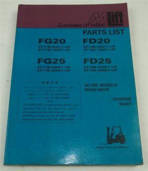 Mitsubishi FG FD 20 25 Lift Truck Parts List Ersatzteilliste in englisch 1997