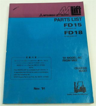 Mitsubishi FD15 FD18 Lift Truck Parts List Ersatzteilliste in englisch 11/1991