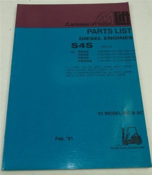 Mitsubishi S4S Diesel Engine for FD 20 25 30 35A Parts List Ersatzteilliste engl