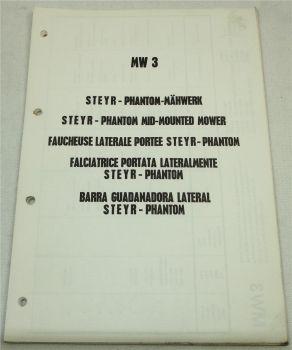 Steyr MW3 Phantom-Mähwerk Ersatzteilliste Spare Parts List 1975