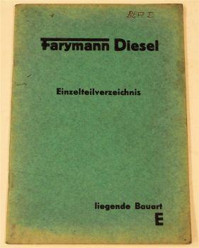Farymann Motor liegende Bauart E Ersatzteilkatalog Ersatzteilliste 11/1956