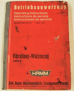 Hamm Zettelmeyer 2401S Walzenzug Bedienungsanleitung Betriebsanleitung