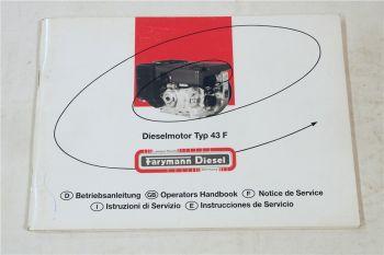 Farymann 43F Dieselmotor Instrucciones Bedienungsanleitung Handbook 1997
