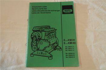 Hatz 2M31 - 4M40 Dieselmotor Ersatzteilliste Parts List Lista de recambios 1988