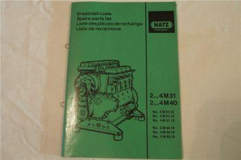 Hatz 2M31 - 4M40 Dieselmotor Ersatzteilliste Parts List Lista de recambios 1989