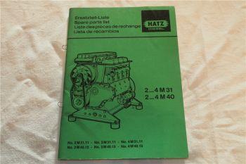Hatz 2M31 - 4M40 Dieselmotor Ersatzteilliste Parts List Lista de recambios 1987