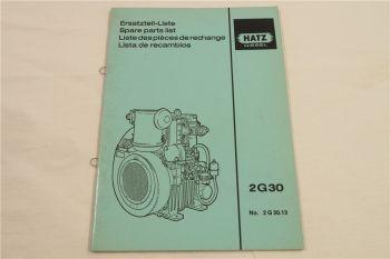Hatz 2G30 Diesel Motor Ersatzteilliste Parts List Lista de recambios 10/1988