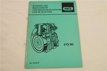 Hatz 2G30 Diesel Motor Ersatzteilliste Parts List Lista de recambios 1/1987