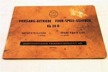 ZF Kb30D Viergang Getriebe Ersatzteilliste Ersatzteilkatalog Parts List 7/1965