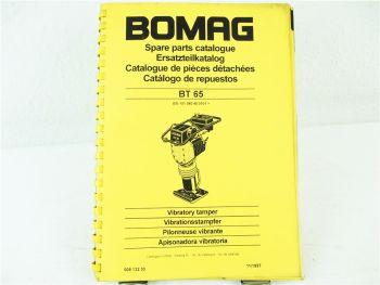 Bomag BT65 Stampfer Ersatzteilliste Parts List Pieces rechange 11/1997