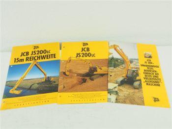 3 Prospekte JCB JS200LC Hydrailkbagger Raupenbagger 1993-1995