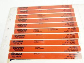 SCANIA T93 MH HK Ersatzteilliste Parts List Reservdelskatalog 11/1996