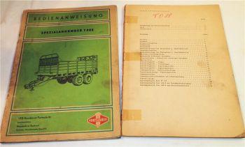 Fortschritt T088 Anhänger HTS90.04  Bedienngsanleitung Ersatzteilliste 1976