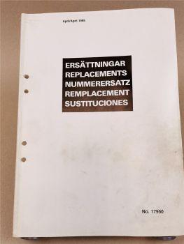 Scania Nummerersatz Teilenummern Ersatzteilkatalog Replacements parts List 1995