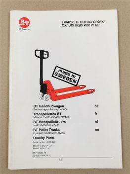 BT LMH 230 Bedienungsanleitung Teileliste Operators Manual Instructieboek