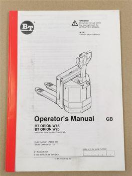 BT Orion W18 W20 Operators Manual Maintenance 2000
