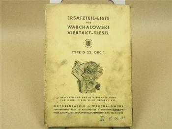 Warchalowski D22 DBC1 Dieselmotor 4-Takt Ersatzteilliste Ersatzteilkatalog 11/61