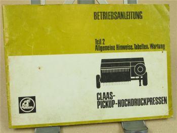 Claas Pick-Up Hochdruckpressen Betriebsanleitung Bedienungsanleitung 6/74