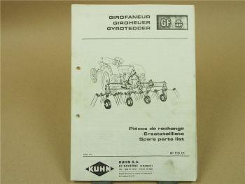 Kuhn GF4 GF4P Giroheuer Ersatzteilliste Parts List Pieces de Rechange 8/1971