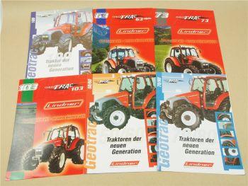 6 Prospekte Lindner 50/60 63 alpin 70/80 73 100 103 Traktoren ca. 1999/2004