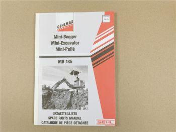 Gehl Gehlmax MB135 Ersatzteilliste Ersatzteilkatalog Spare parts manual