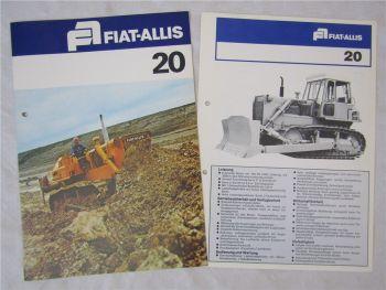 2 Prospekte Fiat Allis 20 Laderaupen mit technischen Angaben 1976/78