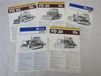5 Prospekte Fiat Allis FD20 FD30 Laderaupen mit technischen Angaben um 1978