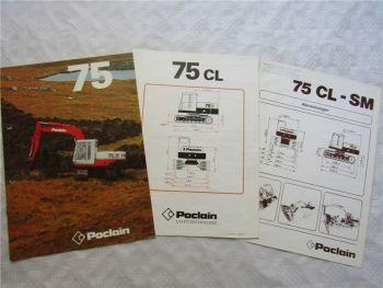 Prospekt Poclain 75 CL SM Hydraulikbagger und Datenblätter ca 1976