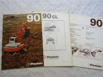 Prospekt Poclain 90 Hydraulikbagger und Datenblätter ca 1976